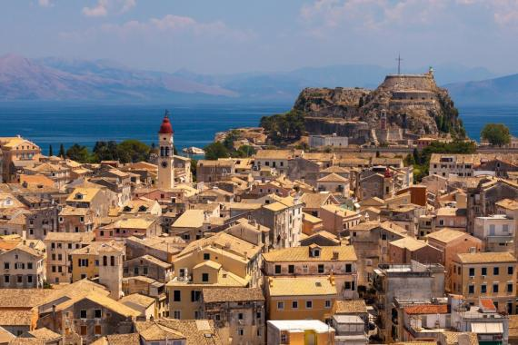 The town and the old city of Corfu